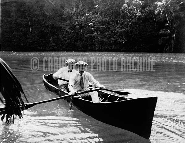 Canoeing At Blue Hole, Negril, Jamaica, 1900